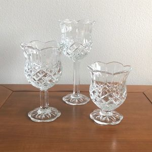 Homco Set Of Three Glass Stemmed Candle Holders